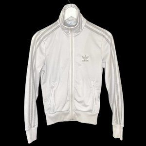 Adidas White and Silver Trefoil Back Track Jacket
